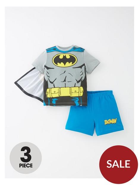 batman-boys-3-piece-cape-shorty-pj-set-grey