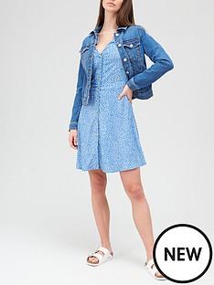 v-by-very-button-through-34-sleeve-mini-dress-blue-print