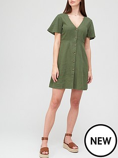 v-by-very-linen-button-through-mini-dress-olivenbsp