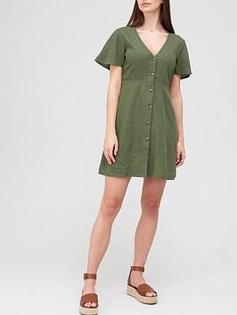 v-by-very-linen-button-through-mini-dress-olivenbsp