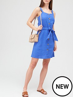 v-by-very-linen-button-through-pinafore-mini-dress-bluenbsp