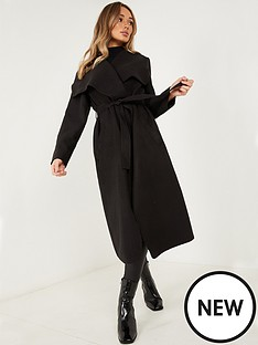 quiz-felt-long-sleeve-belted-waterfall-coat-black