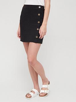 v-by-very-linen-button-through-mini-skirt-blacknbsp