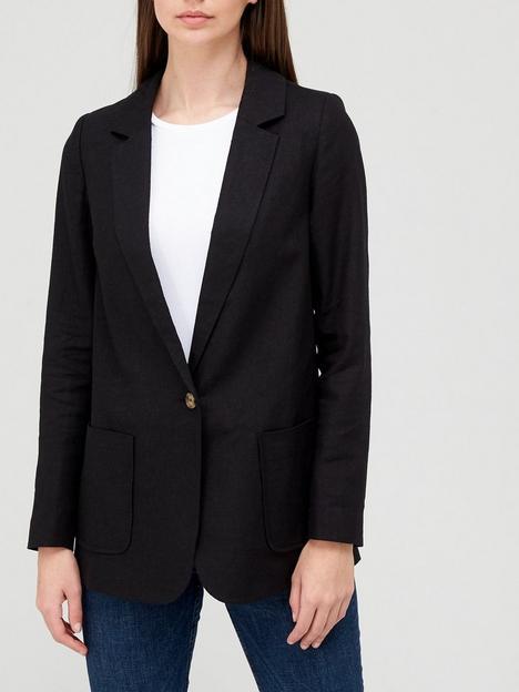 v-by-very-linen-mix-jacket-black