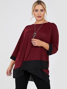 quiz-curve-quiz-curve-berry-light-knit-wrap-necklace-top