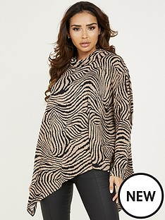 quiz-animal-print-cowl-neck-top-brown