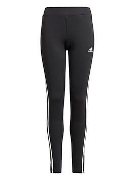 adidas-girls-juniornbsp3-stripesnbsptight-blackwhite
