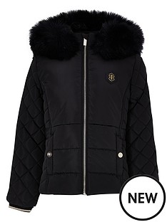 river-island-girls-matte-padded-faur-fur-trim-coat--nbspblack