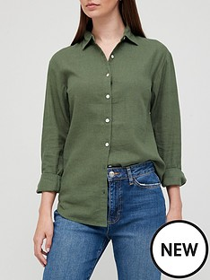 v-by-very-classic-linen-blend-long-sleeve-shirt-khaki