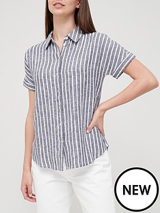 v-by-very-classic-linen-blend-short-sleeve-shirt-blue-stripe