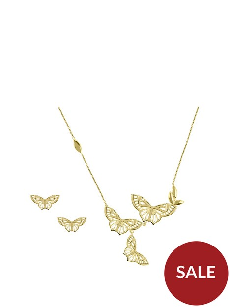 sara-miller-sara-miller-18ct-gold-plated-butterfly-necklace-and-earrings-gift-set