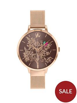 sara-miller-sara-miller-grey-sunray-dial-rose-gold-stainless-steel-mesh-strap-ladies-watch