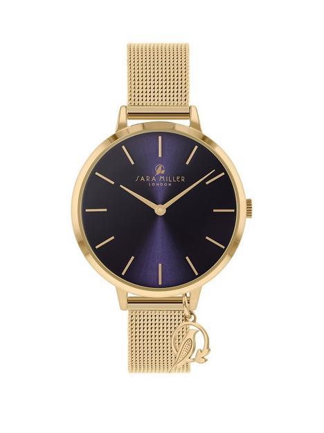 sara-miller-sara-miller-navy-sunray-charm-dial-gold-stainless-steel-mesh-strap-ladies-watch