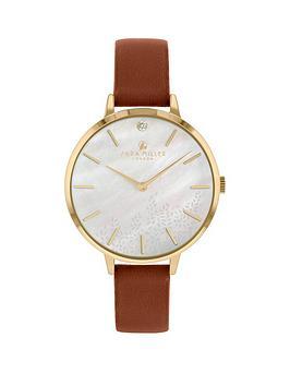 sara-miller-sara-miller-mother-of-pearl-diamond-dial-brown-leather-strap-ladies-watch