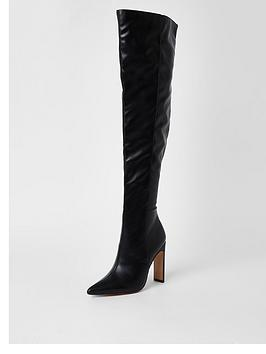 river-island-pull-on-rouched-high-leg-boot-black