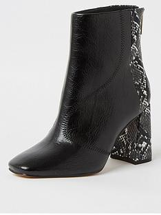 river-island-wide-fit-snake-print-block-heel-ankle-boot-black