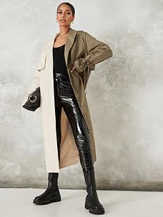 missguided-missguided-colour-block-trench-khaki