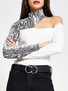 river-island-snake-sequin-cut-out-top-cream