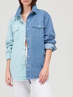 missguided-missguidednbspoversized-colourblock-light-shirt-co-ord-bluenbsp