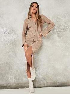 missguided-missguided-rib-v-neck-collared-midaxi-dress-stonenbsp