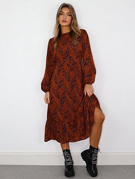 missguided-missguided-zebra-print-long-sleevenbspruffle-hem-midi-smock-dress-rust