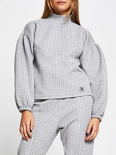 river-island-waffle-high-neck-jersey-sweat-grey