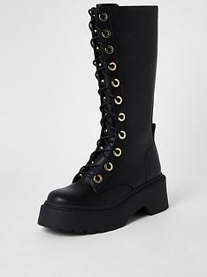 river-island-chunky-lace-up-biker-calf-boot-black