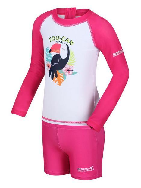 regatta-girls-valo-rash-bird-suit-pink