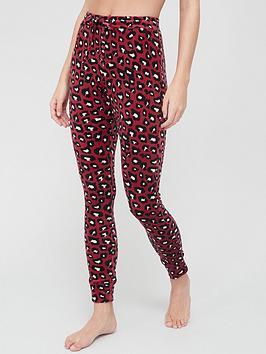 hunkemoller-velour-cuffed-leopard-lounge-legging-red