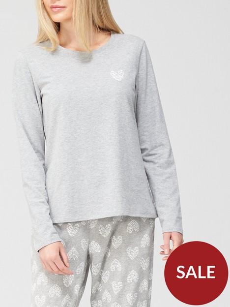 hunkemoller-long-sleeved-jersey-heart-pj-top-grey