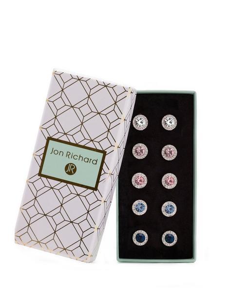 jon-richard-silver-plated-crystal-clara-pack-of-5-earrings