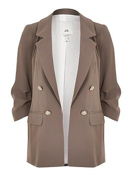 river-island-ruched-sleeve-blazer-light-brown