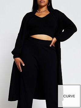 river-island-ri-plus-mix-stitch-maxi-cardi-black