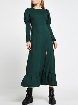 river-island-puff-sleeve-midi-dress-green