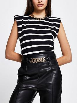 river-island-stripe-shoulder-pad-tee-black
