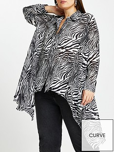 ri-plus-rinbspplus-zebra-print-hi-low-hem-shirt-black