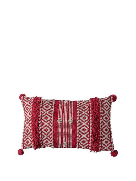 gallery-diamond-tufted-pom-pom-cushion-red-300x500mm