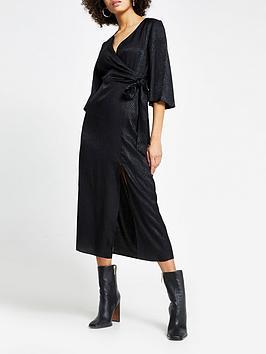 river-island-long-sleeved-twist-front-midi-dress-black