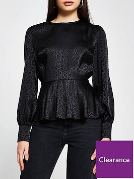 river-island-satin-peplum-blouse-black