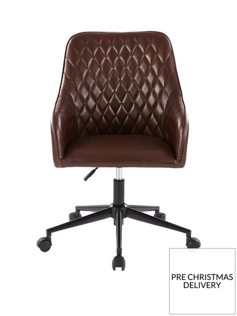 diamond-faux-leather-office-chair