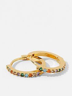 accessorize-nbspz-rainbow-huggie-hoop-earrings-gold