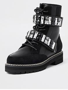 river-island-lace-up-hiker-boot-with-chain-detail-black