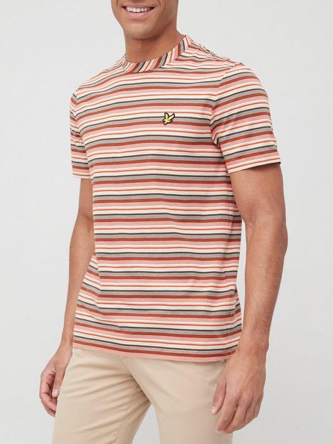 lyle-scott-multi-stripe-t-shirt-burnt-orange