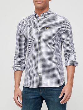 lyle-scott-gingham-long-sleeve-shirt-navy