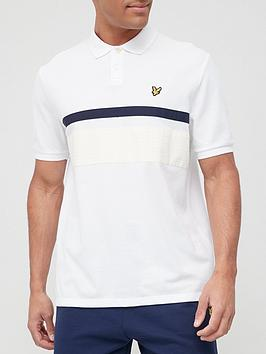 lyle-scott-gingham-yoke-stripe-polo-shirt-white