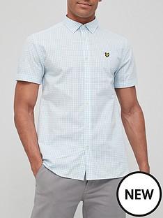 lyle-scott-gingham-short-sleeve-shirt-blue