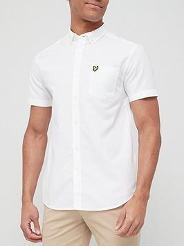 lyle-scott-short-sleeve-oxford-shirt-white