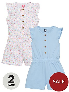 mini-v-by-very-girlsnbsp2-pack-frill-sleevenbspprintplain-jersey-playsuits-multi