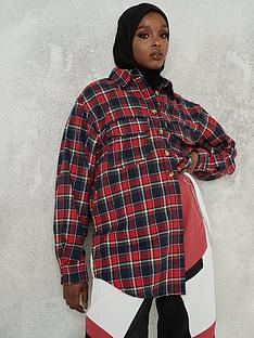 missguided-missguided-extreme-oversized-check-shacket-red