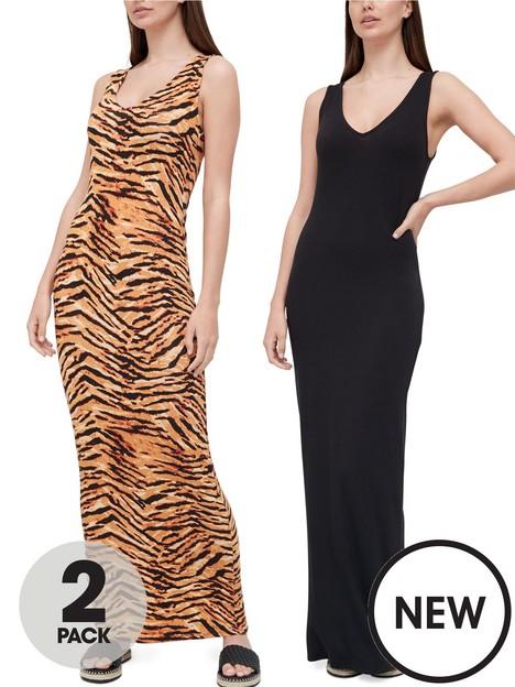 v-by-very-v-neck-maxi-dress-2-pack-animal-printblack